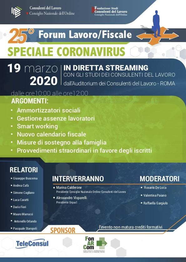 Forum Lavoro/Fiscale Speciale Coronavirus 19 marzo 2020